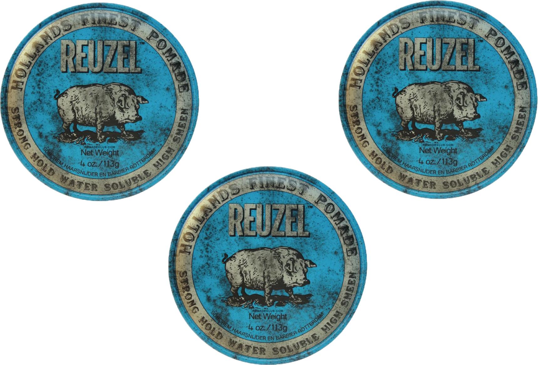 Reuzel Lot De 3 Produits Bleu Pomade Strong Hold Water